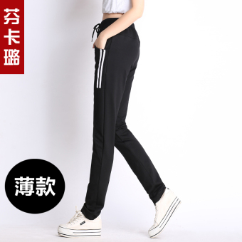 Harga Ulzzang Korean-style HarLan female summer pants athletic pants (Black-thin section) (Black-thin section)