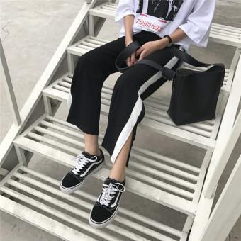 Ulzzang retro style student casual pants ankle-length pants (Black) (Black)