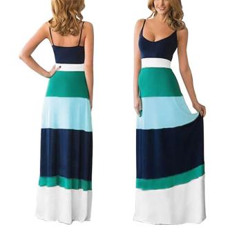 Women summer cotton dress boho long Maxi evening party dress  Lake  blue
