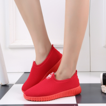 Women's Breathable Non-slip Slip-on Flat Shoes (6622 red)