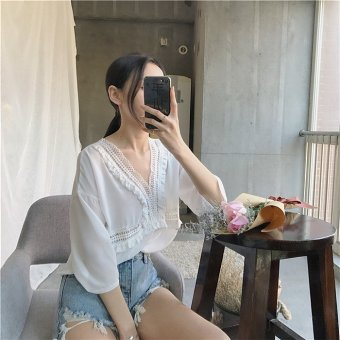 Women's Chiffon Free Size Loose Half Sleeve Top - White