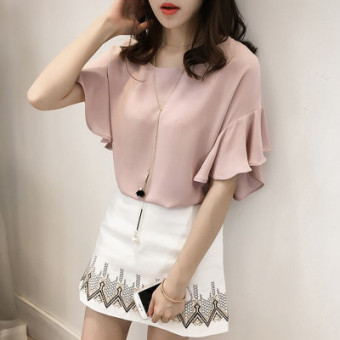 Women's Chiffon Plus Size Loose Short Sleeve Top Color Varies (Pink)