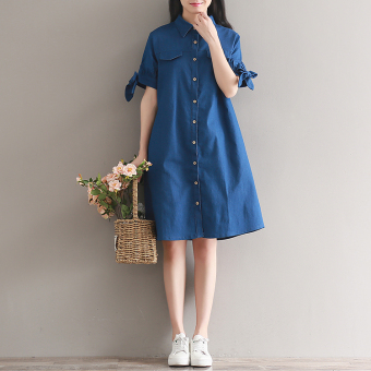 Women's Loose Bowknot Single Breasted Denim Cloth Short Sleeve Dress