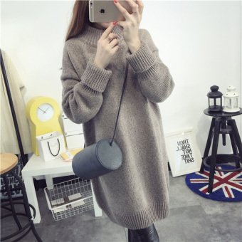 Women's Loose High Collar Knitted Thick Dress (Rose)