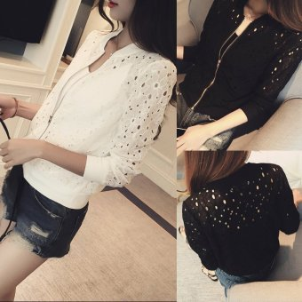 Women's Plus Size Cutout Cropped Jacket - Black - White (Black) - 2