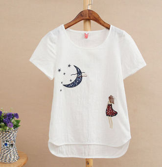 Women's Plus Size Embroidery Cotton Short Sleeve Solid Color T-Shirt (Moon girl)