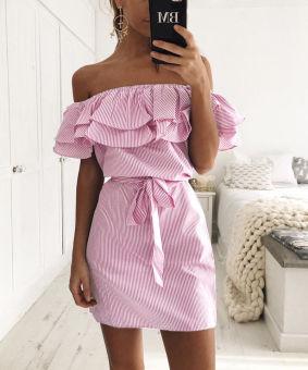 Womens boho mini dress casual beach party dresses  Pink