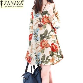 ZANZEA New Sexy Womens Floral Linen Long Sleeve V-Neck Cute Short Mini Dress Apricot - Intl