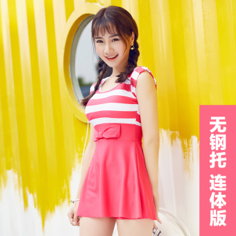 Zhen Ya small chest gather boxer split bubble hot spring swimmingclothing (Siamese boxer swimsuit no steel prop with a chest padpink) (Siamese boxer swimsuit no steel prop with a chest pad pink)