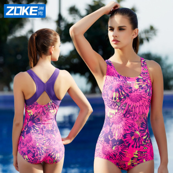 Zoke piece conservative small chest gather sexy swimsuit (Rose-3)(Rose-3)