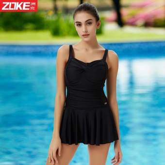Zoke swimsuit Ms. conservative boxer pants small chest gather bigchest steel prop swimsuit piece skirt Type Hot Spring swimmingclothing (Rose _ 2) - 2