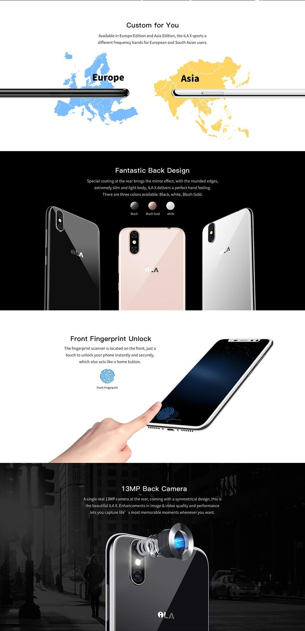 iLA X Smartphone MT6737 Quad Core 1 3GHz 3GB RAM 32GB ROM 5 5 Inch 18:9 HD  Screen 4G Rear Camera13MP Front Camera 5MP Fingerprint Unlock Dual Sim