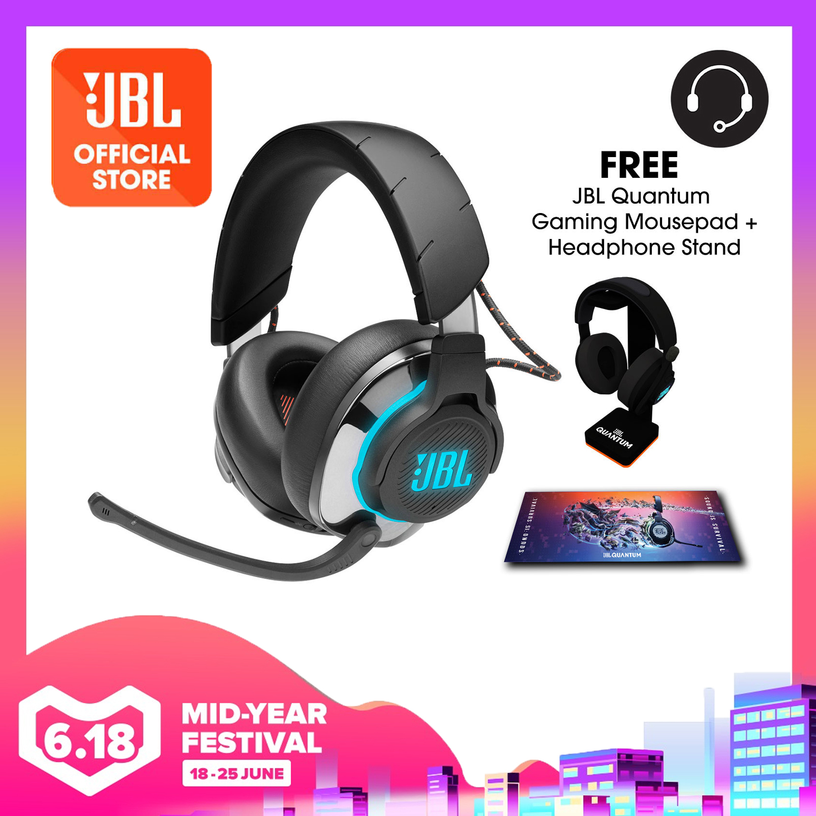 JBL Quantum 800 Wireless over-ear performance gaming headset with Active Noise Cancelling and Bluetooth 5.0 + Quantum Headphone Stand + Gaming Mouse Pad | Why Not Deals