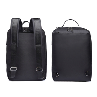 3-way Business Style Laptop Backpack Also Messenger Bag and Handbag- Black - 5