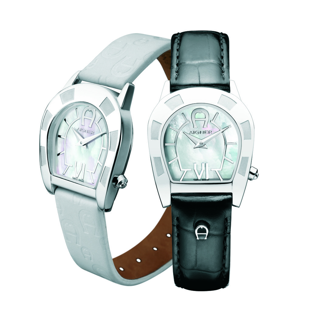 Aigner Portobello White And Black Leather Strap Watch Singapore For Women