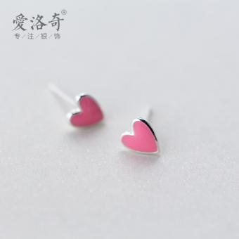 A'ROCH 925 silver earrings female Korean-style sweet pink love earrings temperament heart-shaped earrings ear jewelry gift