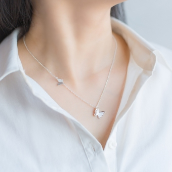 A'ROCH 925 silver handmade necklace female Korean-style sweet double Butterfly necklace female temperament short paragraph clavicle chain