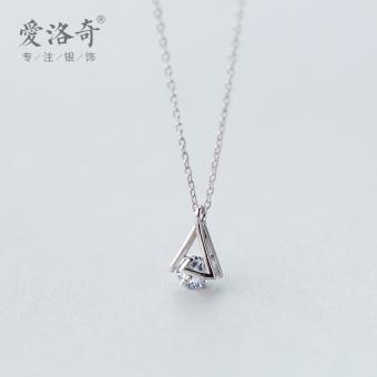 A'ROCH 925 silver necklace female Korean-style simple triangle diamond single diamond necklace Cool temperament geometric necklace