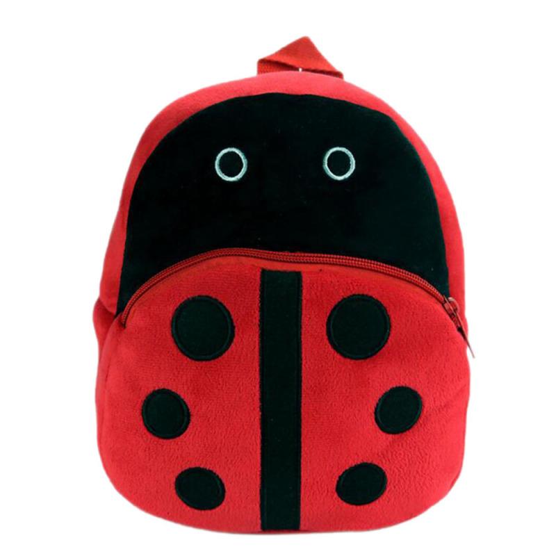 Cartoon Animal Pattern Kids Child Small Soft Plush Schoolbag School Bag Backpack Red Ladybird