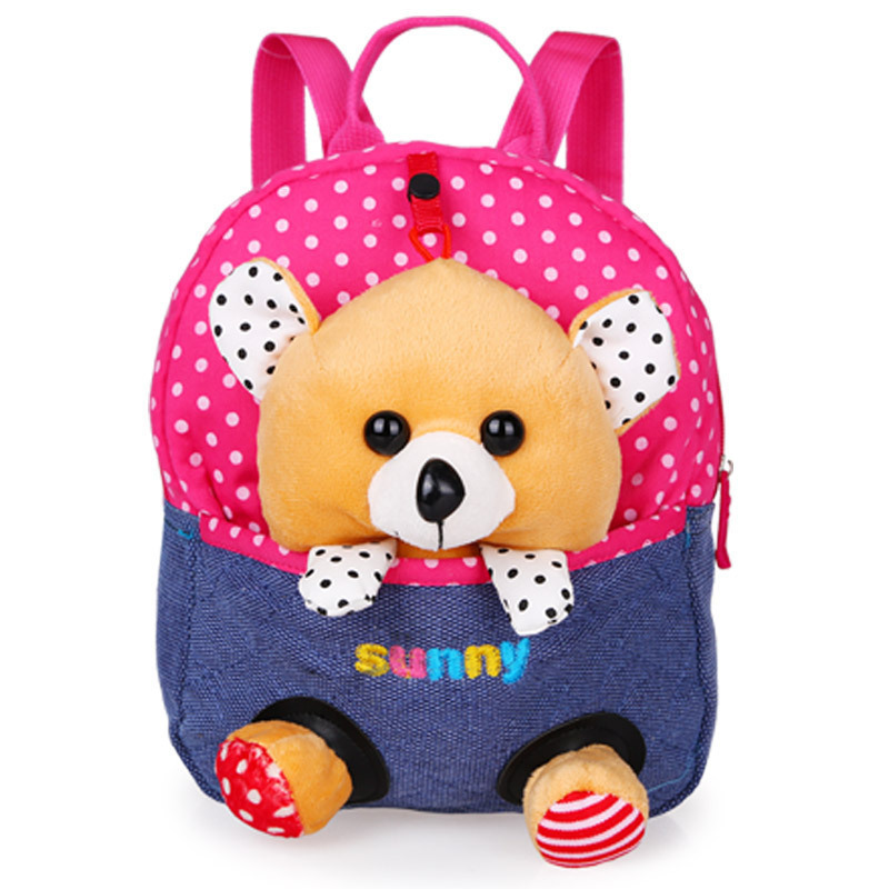 Cartoon childrens school bags baby backpack doll bags travel backpack Red Bear