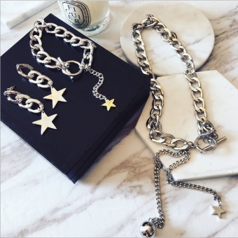 Cool exaggerated thick chain necklace