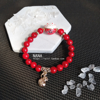 [Every day special][Lucky transport peach] Lucky Cat bracelet strawberry crystal Wang Fu stone natural Powder Crystal