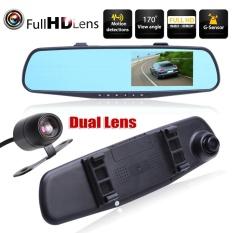 Full HD 1080P 4.3 inch Dual Lens Car DVR Rear View Mirror Dash Cam Video Camera