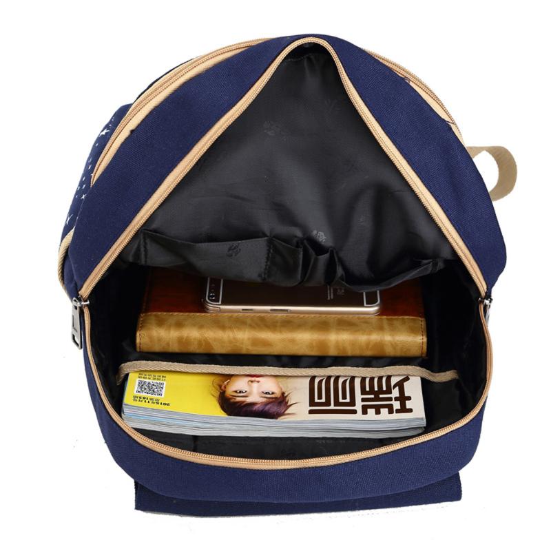 Girl Canvas School Bag Backpack Travel Rucksack