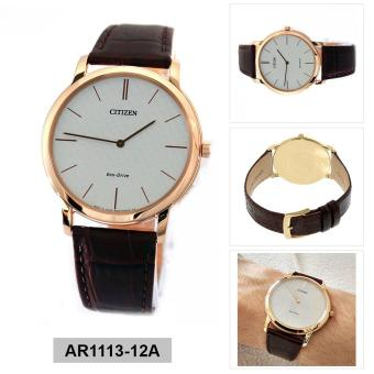 Harga Citizen Watch Eco-Drive Stiletto Brown Stainless-Steel Case Leather Strap Mens Japan NWT + Warranty AR1113-12A
