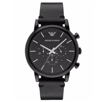 Harga Emporio Armani Classic Chronograph Black Leather 46mm Men's Watch AR1918