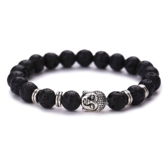 Harga Women Men Fashion Black Lava Stone Buddha Bead Bracelets(Sliver)(Export)
