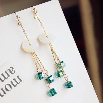 Harga Within short a back crystal long tassel earrings ear clip no ear hole ear buckle female Korean fashion earrings