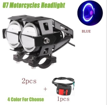Harga 2PCS Waterproof 125W U7 LED Car Motorcycle Headlight Led DRL Fog Light Spot Light Lamp 4 Colors Angle Eye Light with Switch - intl