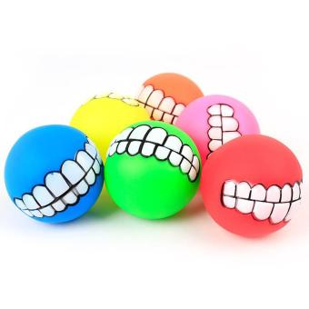 Harga Pet Dog Funny Ball Teeth PVC Chew Sound Squeaker Dogs Play Toy (Random Color) - intl