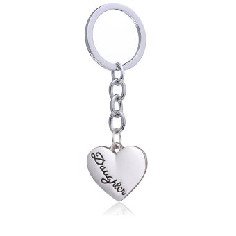 Harga Girl Gift Silver Alloy Love Heart Shape Charm Pendant Keychain Family Jewelry for Daughter Love Forever(Export)