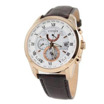 Harga Citizen Watch Eco-Drive RADIO CONTROLLED Brown Stainless-Steel Case Leather Strap Mens Japan NWT + Warranty AT9082-01A