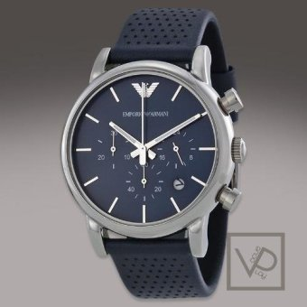 Harga Emporio Armani Classic Chronograph Navy Dial Navy Leather Strap Men's Watch AR1736