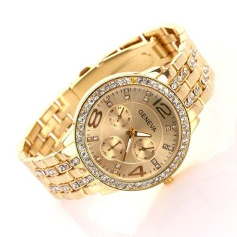 Hot Selling Casual Wristwatch Women Luxury Quartz Watch (Gold) - 3