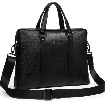 DANJUE Men Business Briefcase Genuine Leather Handbag Tote Male High Quality Brand Computer Laptop Bag Man (Black) - intl - 2