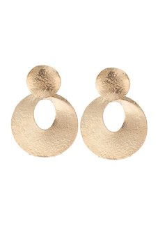 Harga Gold Plated Hollow Circle Drop Earrings (Gold) (EXPORT)