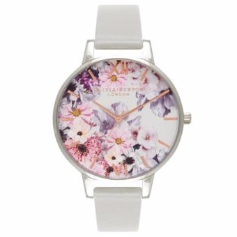 Harga Olivia Burton Enchanted Garden Dove Grey Leather Strap Watch OB15FS76