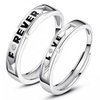Harga Silver Adjustable Couple Rings Jewelry Affectionate Lovers Rings E023 - intl