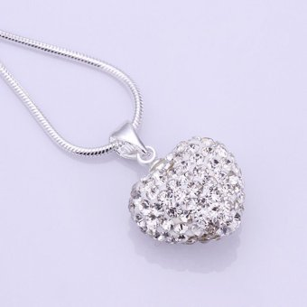 Harga Okdeals Crystal Heart 925 Silver Plated Snake Chain Pendant Necklace White