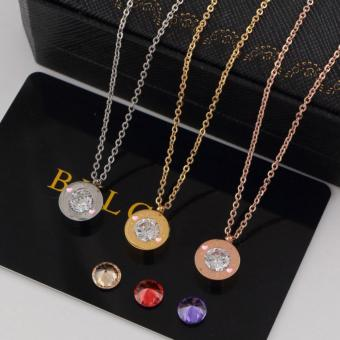 Girls Diamond Necklace High-end Titanium Stainless Steel Fashion Pendant Necklace (Gold) - intl