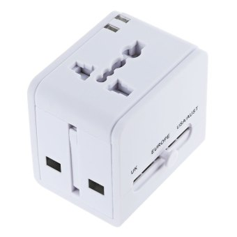 Harga Universal Worldwide Travel Power Plug Wall AC Adapter Charger with Dual 3.1A USB Charging Ports (White)