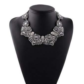 Harga Alloy Black Diamond Necklace - intl