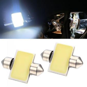 Harga 2PCS 31mm 12-SMD 12V COB LED Car Interior Dome Map Light Bulbs DE3175 White LED