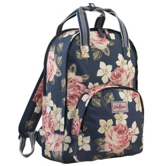 "Harga Cath Kidston Multi Pocket Backpack Matt Oilcloth Rucksack Richmond Rose 16SS (Dark Navy) Fitting 13"" Laptop 557757"