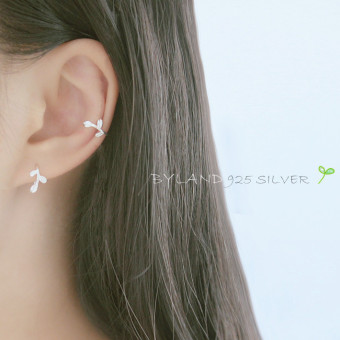 Harga S925 sterling silver earrings Korean literary small fresh leaves ear hook leaves ear clip ear jewelry wild anti-allergy