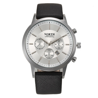 Harga North N0121 Fashion Men Sport Watches Genuine Leather Waterproof (white)